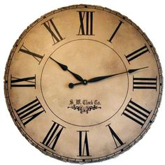 Infinity Instruments 36 Inch Large Antique Face Wall Clock