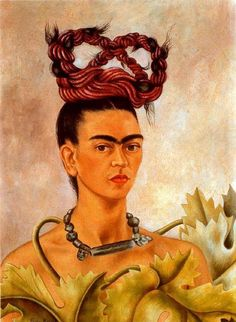 Self-Portrait wiht Braid, Oil by Frida Kahlo (1907-1954, Mexico)