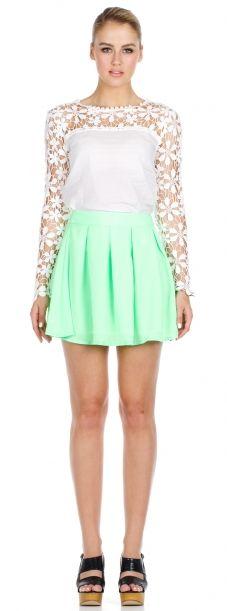 White Crochet Top with green skirt