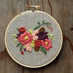 Pink and Purple Flowers Embroidery Hoop Tan by IttyBittyBunnies