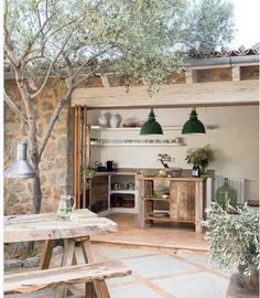 modern rustic interiors This home on the island of Mallorca (Spain) has been designed by Spanish architectural firm Moredesign. Building the rustic stone house was a process ove Rustic Chic, Mountain Home, House Design, Rustic Style, Outdoor Kitchen Design, Modern Rustic, Stone Houses, Rustic Stone, Rustic House