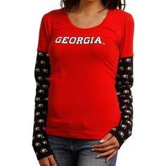 Georgia Bulldogs Ladies Cool Down Double Layer Long Sleeve Premium T-Shirt - Red/Black