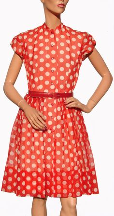 Vintage 1950s Rockabilly Dress Red with White Polka Dots Ladies Size Small Medium