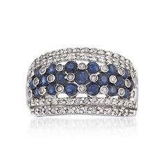 .45 ct. t.w. Sapphire and .50 ct. t.w. Diamond Ring in Sterling Silver. Size 7