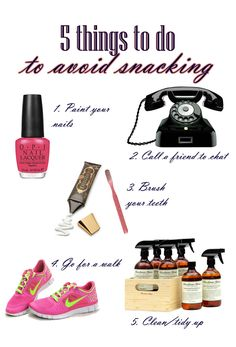 5 ways to avoid snacking. I do these all the time. It really helps!