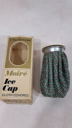 "Vintage~""Seamless""~ Ice Pack~Ice Cap Bag PLAID CLOTH COVERED WITH BOX"