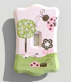 Pink and Brown Ladybug Switch Plate or Outlet Cover