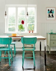Maybe my teal chairs could be re-purposed in a new kitchen someday?  Love how cheery this is!