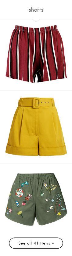 """shorts"" by harthkai on Polyvore featuring shorts, striped shorts, sequin hot pants, hot shorts, elastic waist shorts, mini shorts, bottoms, pants, short and high waisted metallic shorts"