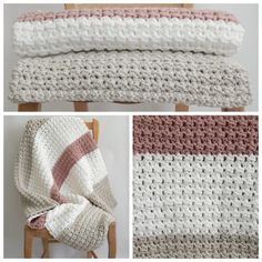 Linen white and pink striped crochet baby blanket by LauraLizzies