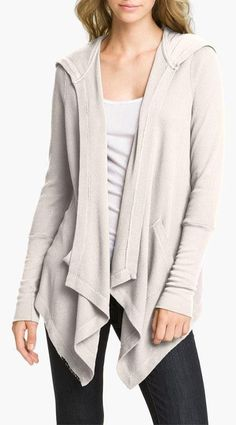 Love this. Thermal draped hoodie. Casual.