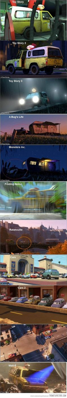 "For ""A Bug's Life"" and ""Monster's Inc."", you'll notice that the mobile homes are exactly the same too"