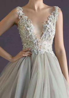 princess gown, tulle skirt wedding dress, jeweled bodice, gray, ivory, Paolo Sebastian
