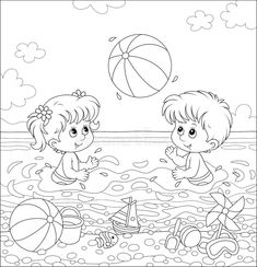 Summer Days, Summer Time, Coloring Books, Coloring Pages, Infancy, Free Illustrations, Cartoon Styles, Kids Playing, Seaside