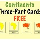 FREE Montessori Nomenclature Continents Three Part Cards to teach a geography lesson on continents. Print and laminate cards. Lay the whole continent ca...