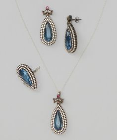 Look what I found on #zulily! Cobalt & Silver Pendant Necklace Set by Queen Jewelers #zulilyfinds