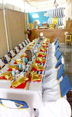 Jake and the Neverland Pirates boy birthday party table decorations!  See more party planning ideas at CatchMyParty.com!