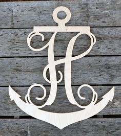26 inch Anchor Wooden Single Letters- Wall Monogram- Wood Wall Letters- Nautical Decor