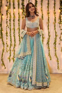 Mint Blue Picchwai Anita Dongre Lehenga. Click on picture to see lehenga price. #Frugal2Fab