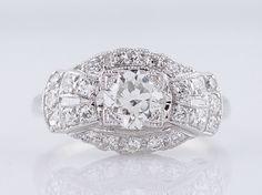 Bague de fiançailles de 1920 Antique Art Deco 1.10cttw diamant de taille ancienne européenne en 14 k or blanc par FiligreeJewelers sur Etsy https://www.etsy.com/fr/listing/216751228/bague-de-fiancailles-de-1920-antique-art