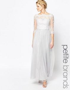 Chi Chi London Petite Bardot Neck Maxi Dress With Premium Lace And Tulle Skirt