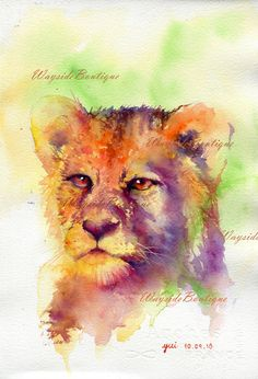 Lion- ORIGINAL watercolor painting 7.5x11 inches