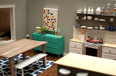 I want this doll kitchen to be my REAL kitchen. And I adore the turquoise.