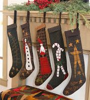 Primitive Gatherings Christmas stocking on Moda sight by Lisa