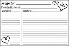 Daily Free Printable: Valentine's Day 4×6 Recipe Card. Download here: http://pt.scribd.com/doc/121313110/Valentine-s-Day-4x6-Recipe-Cards