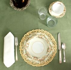 gold doilies as placemats