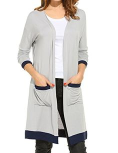 Meaneor Womens Light Weight Open Front Cardigan Long Cardigan with Pocket Black XXL -- You can get additional details at the image link.