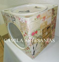 LATA DE GALLETITAS DECOUPAGE, SELLOS Y STENCILES Decoupage, Home Decor, Handmade Crafts, Old Tea Pots, Painted Trays, Wooden Crates, Dresser Drawers, Ornaments, Cookie Tin