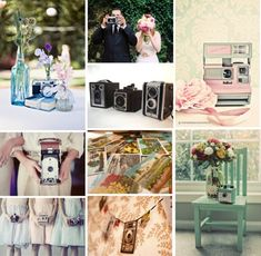 LOVE the top left pic - camera on top of books with blue jar/flowers!  Vintage Camera Wedding
