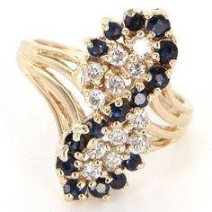 Vintage 14 Karat Yellow Gold Sapphire Diamond Cocktail Ring Fine Jewelry Estate
