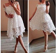 Crochet beautiful and feminine white openwork dress. Free patterns for crochet openwork dress