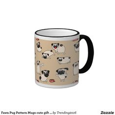 Fawn Pug Pattern Mugs cute gift for Pug owners #pugs