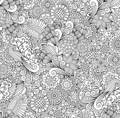 Outline of elegant seamless pattern by ssstocker on Detailed Coloring Pages, Printable Adult Coloring Pages, Cute Coloring Pages, Flower Coloring Pages, Disney Coloring Pages, Mandala Coloring, Coloring Sheets, Coloring Books, Doodle Pages