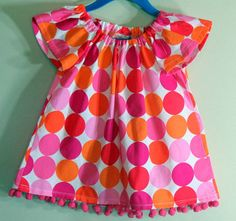 Girls Peasant Top Pink Disco Dots Pom Poms by SouthernSeamsKids, $18.00