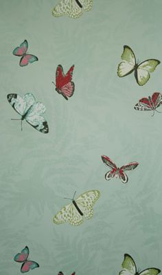 Sample Farfalla Wallpaper in Turquoise Background With Brilliantly Coloured Butterflies from the Lombardia Collection by Nina Campbell Wallpaper Spring, Butterfly Wallpaper, Fabric Wallpaper, Of Wallpaper, Designer Wallpaper, Beautiful Wallpaper, Wallpaper Samples, Wallpaper Ideas, Photo Wallpaper