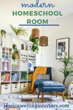 This fun homeschool and distance learning room is full of organization ideas, fun modern Boho decor on a budget, and everything you need to set up a space for learning at home!