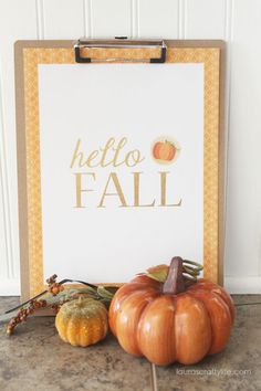 hello FALL printable art by Laura's Crafty Life