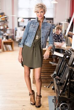 I have a jean jacket similiar to this one. I would love a summer dress or romper like this one that has a nice waste but more loose and fun.  jack shirtdresses ag denim jacket