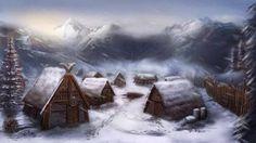 fantasy village winter town landscape snowy medieval mountain game castle forest google inspiration ec0 visit environment