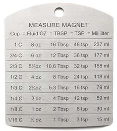 The Magnetic RSVP Measuring Conversion Chart gives you convenient access to conversions of cup measurements to their equivalents in fluid ounces, tablespoons, teaspoons and milliliters. Kitchen Measurement Conversions, Measurement Conversion Chart, Kitchen Conversion Chart, Measurement Converter, Math Conversions, Kitchen Cheat Sheets, Kitchen Measurements, Recipe Measurements, Food Charts