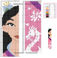 Mulan - Disney marque page Cross Stitch Bookmarks, Cross Stitch Books, Beaded Cross Stitch, Crochet Cross, Cross Stitch Charts, Cross Stitch Embroidery, Embroidery Patterns, Disney Stitch, Disney Cross Stitch Patterns