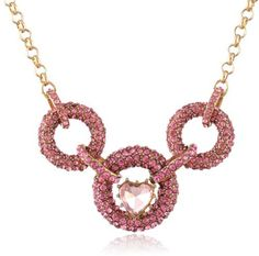 """Betsey Johnson Iconic Pinkalicious"""" Crystal Link and Heart Necklace, 19"""" on shopstyle.com"""