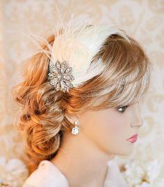 1920s Great Gatsby Bridal Hair, Feather Bridal Headband, Vintage Bridal Headband, Wedding Hairband - GINGER