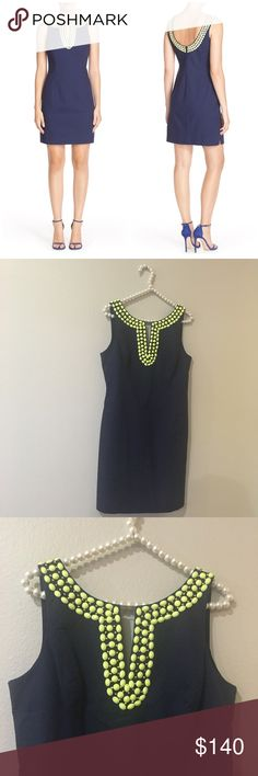 Stunning Lilly Pulitzer Blaire Dress So stunning and in like new condition! No stains, flaws, or missing beads or stones. Size 6. Beading throughout the neckline and back. Navy with lime colored stones. No trades!! Lilly Pulitzer Dresses
