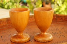 Vintage 60s-70s Wooden Candlestick Holders by SycamoreVintage