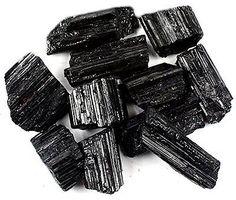 Crystal Allies Materials: 1lb Bulk Rough Black Tourmaline Crystals from Brazi...
